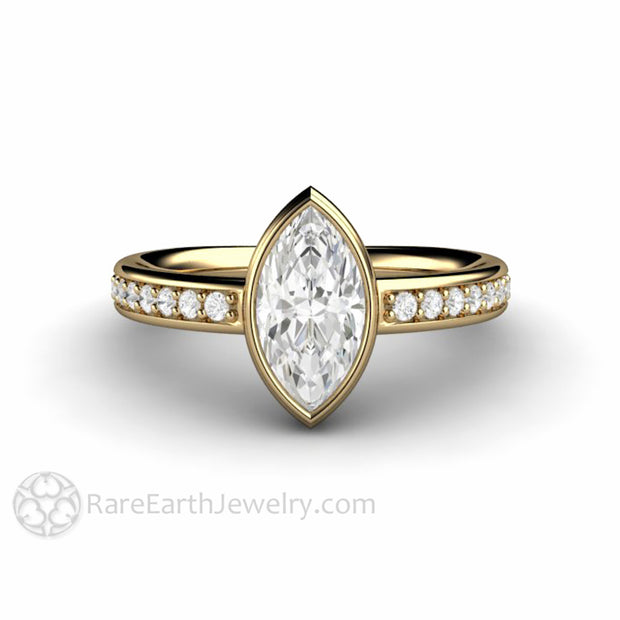 Marquise Cut Moissanite Ring in 14K Yellow Gold Charles and Colvard Forever One Diamond Accented Solitaire by Rare Earth Jewelry