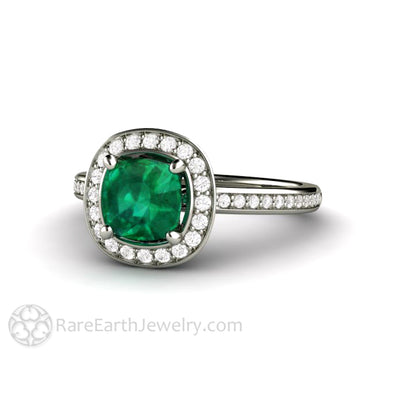 Rare Earth Jewelry May Birthstone Ring with Diamond Halo 1 Carat Cushion Emerald 14K or 18K Gold