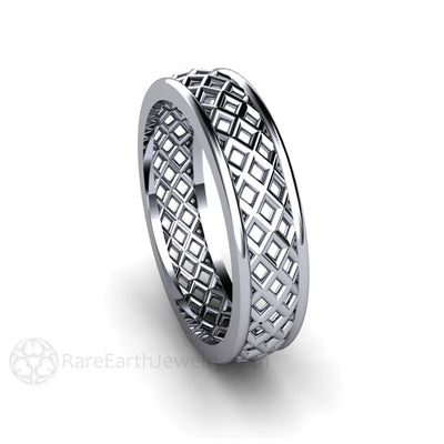Rare Earth Jewelry Mens Platinum Wedding Band Woven Pattern
