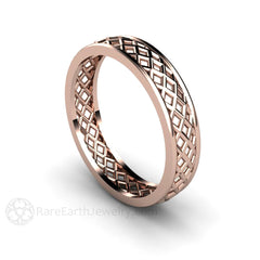 18K Wedding Ring 5MM Woven Style Rose Gold Rare Earth Jewelry