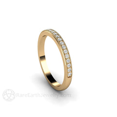 Stacking Diamond Band or Anniversary Ring 14K Yellow Milgrain Detail