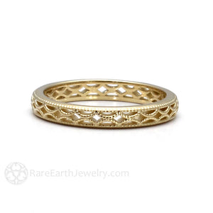 Vintage Style Gold Filigree Ring Milgrain Detailing Rare Earth Jewelry