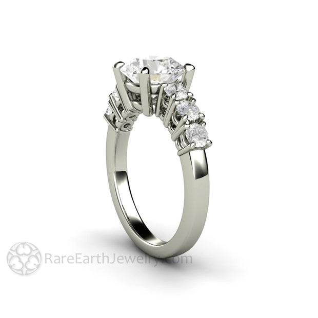 Rare Earth Jewelry Moissanite Anniversary Ring 2 Carat Center Stone with Accents 14K 18K Gold or Platinum