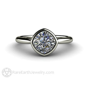 Rare Earth Jewelry Moissanite Anniversary Ring or April Birthstone Diamond Alternative 18K Gold Cushion Cut Bezel