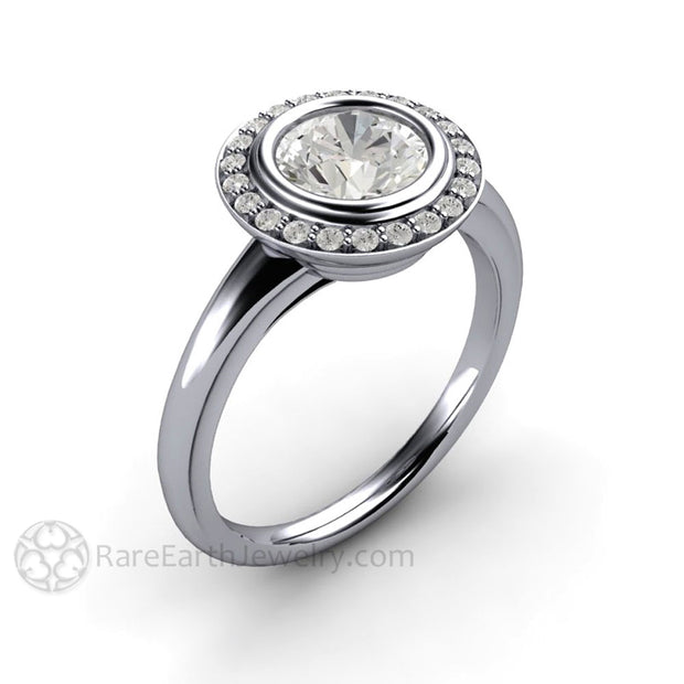 Rare Earth Jewelry Moissanite Wedding Ring 14K or 18K Gold Halo Setting 1ct Forever One Round Cut
