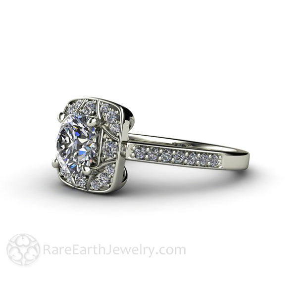 Rare Earth Jewelry Moissanite Wedding Ring 1ct Forever One with Diamond Halo Art Deco