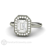 Rare Earth Jewelry Moissanite Bridal Ring 8x6 Emerald Cut Halo 14K or 18K Gold