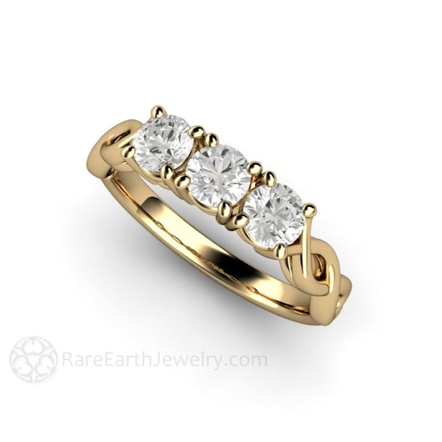 Rare Earth Jewelry Moissanite Ring Round Cut Infinity 3 Stone 14K Gold
