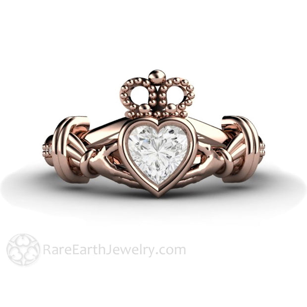 Rare Earth Jewelry Traditional Claddagh Ring Heart Cut Forever One Moissanite with Diamond Accent Side Stones