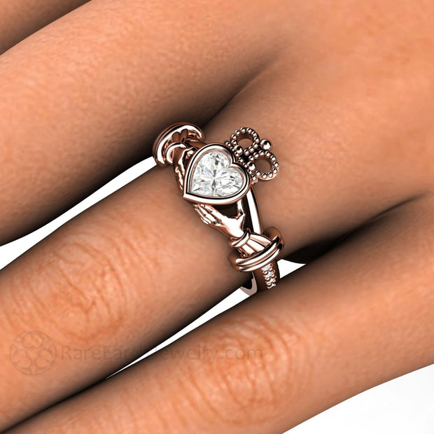 Rare Earth Jewelry Moissanite Claddagh Bridal Ring on Finger Diamond Accent Stones