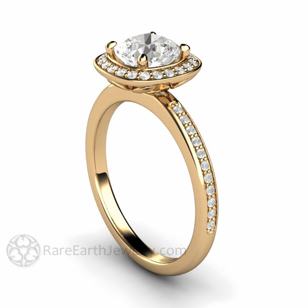 Rare Earth Jewelry 14K Cushion Cut Moissanite Engagement Ring Diamond Accent Stones Halo