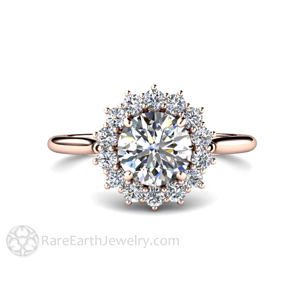 Rare Earth Jewelry 1ct Round Forever One Colorless Moissanite Engagement Ring Rose Gold Diamond Halo Setting