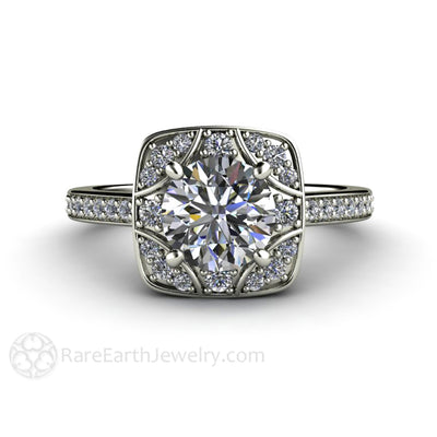 Rare Earth Jewelry Vintage Moissanite Engagement Ring 1 Carat Round Cut Forever One with Diamond Accents 14K or 18K