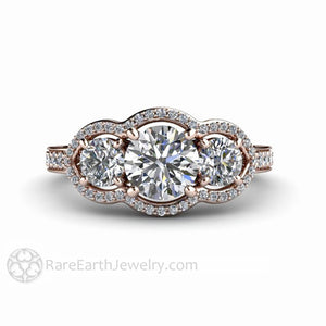 Rare Earth Jewelry Forever One Moissanite Ring Round Three Stone Halo 14K or 18K Gold
