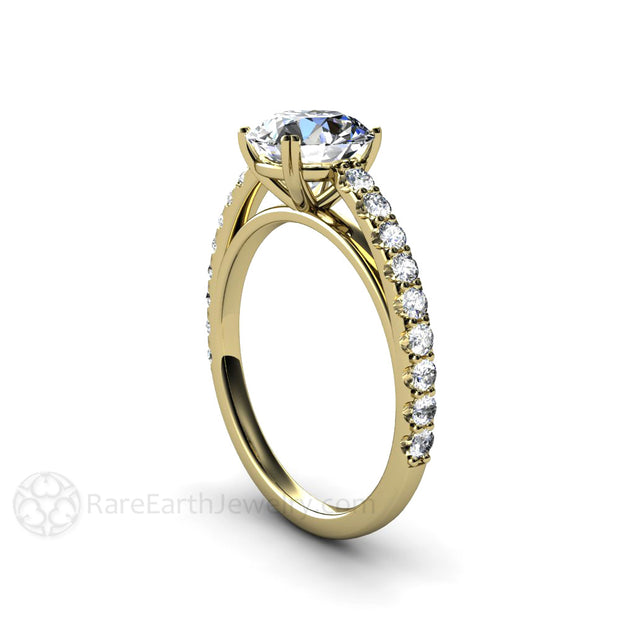 Rare Earth Jewelry Moissanite Wedding Ring Round Cut Forever One Diamond Alternative
