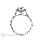 Rare Earth Jewelry Pear Cut Moissanite Forever One Ring Diamond Accented Halo