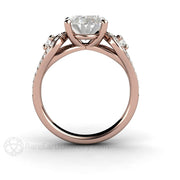 Rare Earth Jewelry 3 Stone Rose Gold Oval Right Hand Ring Moissanite with Diamonds
