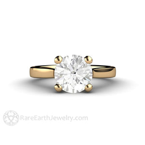 Rare Earth Jewelry Moissanite Engagement Ring 2 Carat Forever One Round 14K Gold