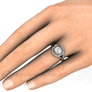 Rare Earth Jewelry Square Cushion Moissanite Right Hand Ring on Finger Diamond Halo Vintage Art Deco Style