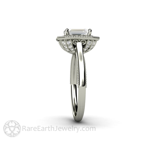 Rare Earth Jewelry Moissanite Halo Bridal Ring Emerald Cut Forever One Diamond Alternative 14K