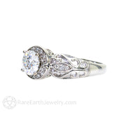 Rare Earth Jewelry Diamond Alternative Moissanite Bridal Ring White Gold Vintage Halo Setting