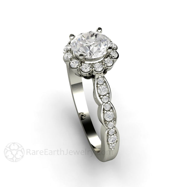 Rare Earth Jewelry Moissanite Wedding Ring Vintage Design with Diamond Accent Stones White Gold