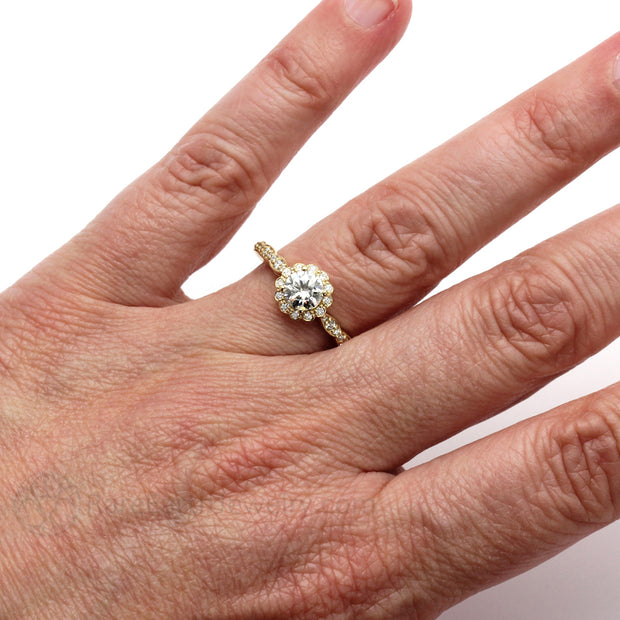 Rare Earth Jewelry Vintage Style Moissanite Right Hand Ring on Finger Yellow Gold Halo Setting