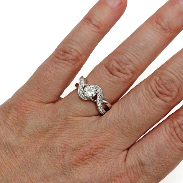 Rare Earth Jewelry Round Cut Moissanite Right Hand Ring on Finger Infinity Vintage Style