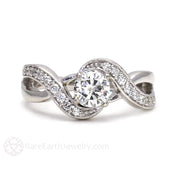 Rare Earth Jewelry Moissanite Engagement Ring Infinity Design with Diamond Accent Stones 14K White Gold Round Cut