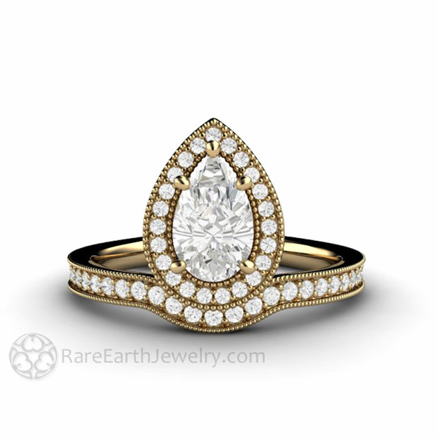 Rare Earth Jewelry 14K Yellow Gold Pear Moissanite Wedding Ring Diamond Halo Miligrain Setting Upside-Down Inverted Vintage Style