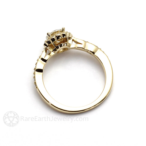 Rare Earth Jewelry Antique Style Moissanite Ring Scalloped Band