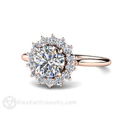 Rare Earth Jewelry Forever One Moissanite Engagement Ring Cluster Vintage Halo Design 14K or 18K Gold 1 Carat Round