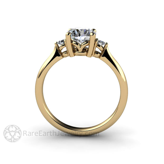 Rare Earth Jewelry Moissanite Ring 1ct Round Center with Diamonds Three Stone 14K Yellow Gold