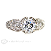 Rare Earth Jewelry White Gold Vintage Style Moissanite Wedding Ring 1ct Forever One Round with Diamond Halo Accents