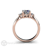 Rare Earth Jewelry Moissanite Ring 3 Stone Round Cut Forever One Rose Gold Setting