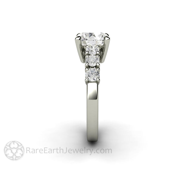 Rare Earth Jewelry Moissanite Ring 8mm Center with 3mm Accents April Birthstone Alternative