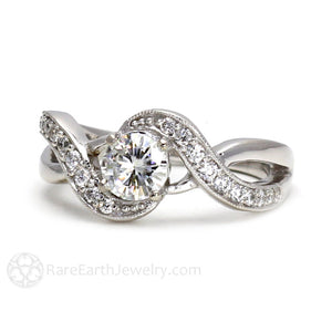 Rare Earth Jewelry Moissanite Ring Round Cut White Gold Infinity Setting with Diamonds Vintage Style
