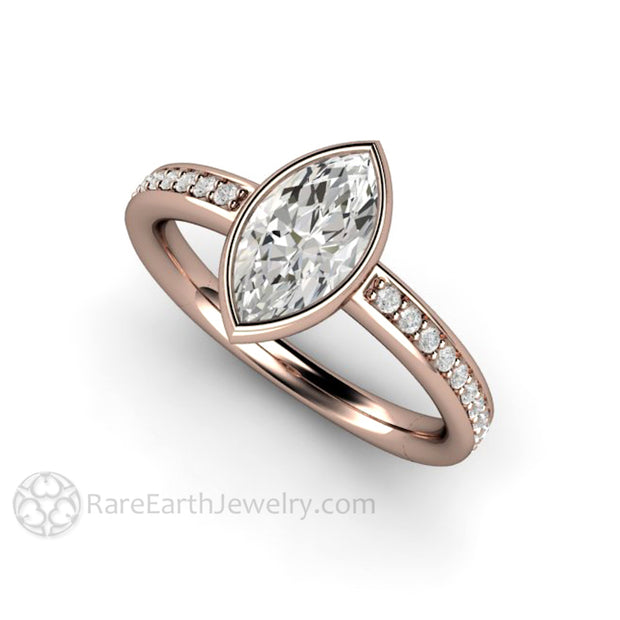 Rose Gold Moissanite Ring Marquise Cut Forever One Moissanite Ethical Engagement Ring by Rare Earth Jewelry