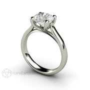 Rare Earth Jewelry Platinum Bridal Ring Round Solitaire Forever One Moissanite