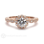 Rare Earth Jewelry Moissanite Engagement Ring Round Cut Vintage Halo 14K Rose