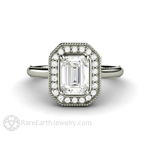 Rare Earth Jewelry Moissanite Ring with Scrollwork Filigree and Milgrain Diamond Halo Emerald Cut