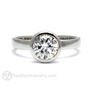 Rare Earth Jewelry Moissanite Ring 1 Carat Bezel Set Round Solitaire Engagement or Anniversary