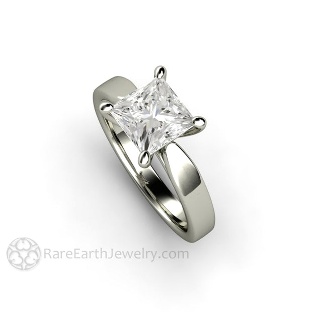 Rare Earth Jewelry Moissanite Solitaire Engagement Ring Princess Cut Classic 4 Prong Gold Band