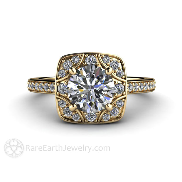 Rare Earth Jewelry 14K Moissanite Ring 1ct Round Cut Forever One Diamond Halo Vintage Style Setting