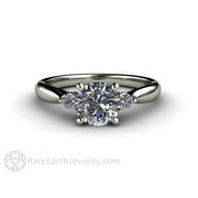 Rare Earth Jewelry Moissanite Wedding Ring 14K White Gold 3 Stone Setting Colorless 1ct Forever One Round Cut