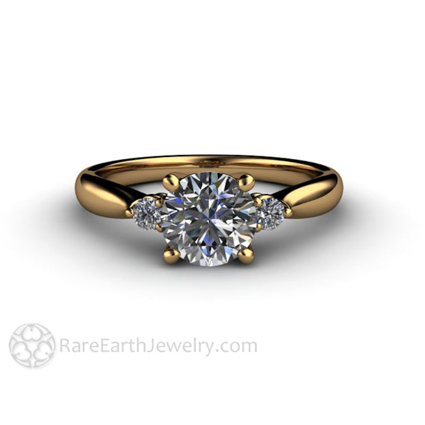 Rare Earth Jewelry Moissanite Wedding Ring 18K Yellow Gold Diamond Side Stones 3 Stone Setting