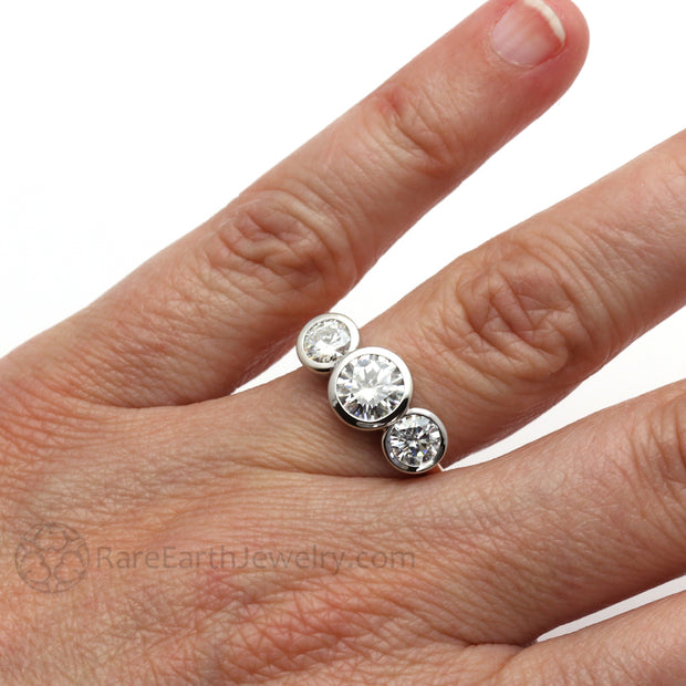 Rare Earth Jewelry 1 Carat Round Cut 3 Stone Moissanite Right Hand Ring on Finger Forever One 5mm Side Stones