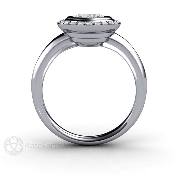 Rare Earth Jewelry Moissanite Bridal Ring 6.5mm Round Cut Art Deco Halo Design