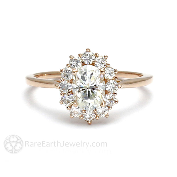 Rare Earth Jewelry Oval Moissanite Engagement Ring Cluster Halo Rose Gold Setting Forever One
