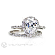 Rare Earth Jewelry Pear Cut Moissanite Bridal Set Forever One Engagement Ring Diamond Halo and Wedding Band